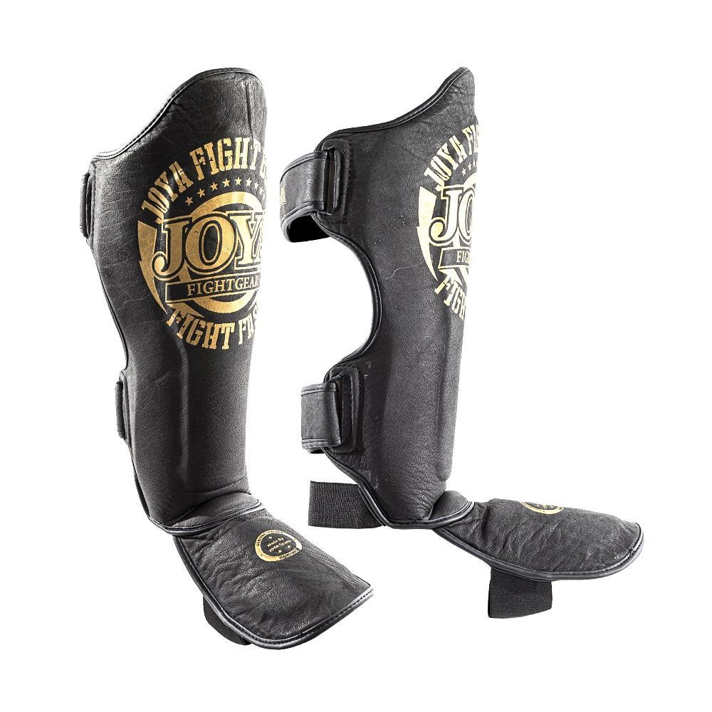 JOYA Shinguard 'Faded Black' - 'Fight Fast' (Leather) - GOLD