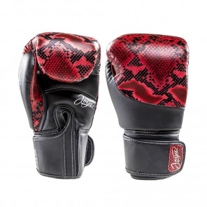 Joya Thailand Kickboxing Glove - Snake - Red Black - Microfiber Synthetic Leather